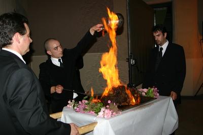 Flambage du cuisseau de veau
